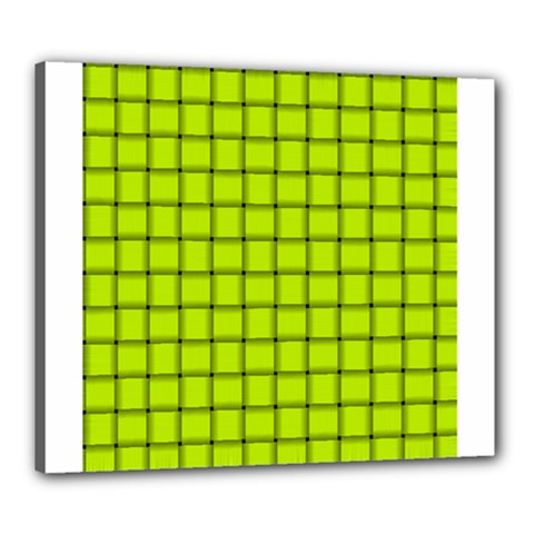 Fluorescent Yellow Weave Canvas 24  X 20  (framed)