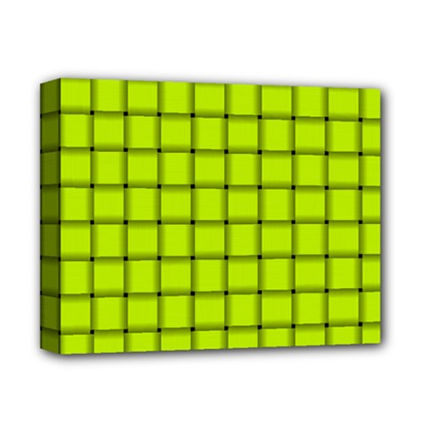 Fluorescent Yellow Weave Deluxe Canvas 14  x 11  (Framed)