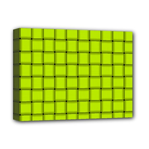 Fluorescent Yellow Weave Deluxe Canvas 16  x 12  (Framed)
