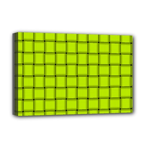 Fluorescent Yellow Weave Deluxe Canvas 18  X 12  (framed)