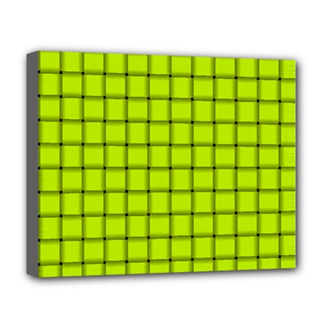 Fluorescent Yellow Weave Deluxe Canvas 20  x 16  (Framed)