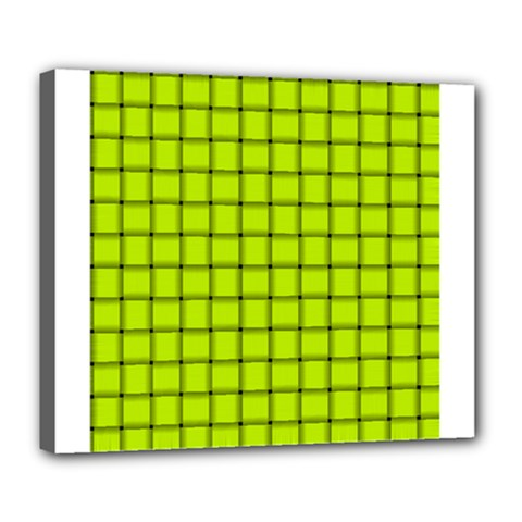 Fluorescent Yellow Weave Deluxe Canvas 24  X 20  (framed)