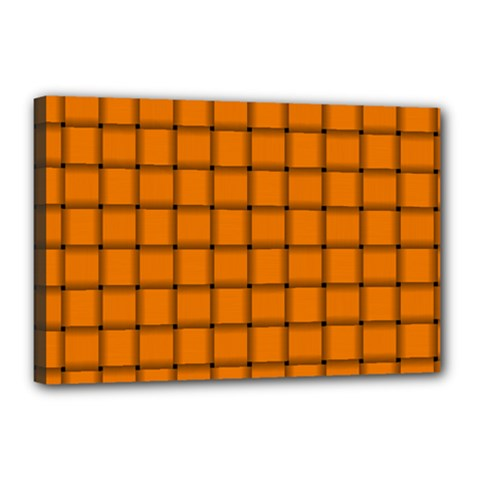 Orange Weave Canvas 18  x 12  (Framed)