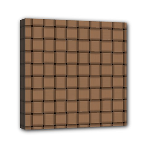 Cafe Au Lait Weave Mini Canvas 6  x 6  (Framed)