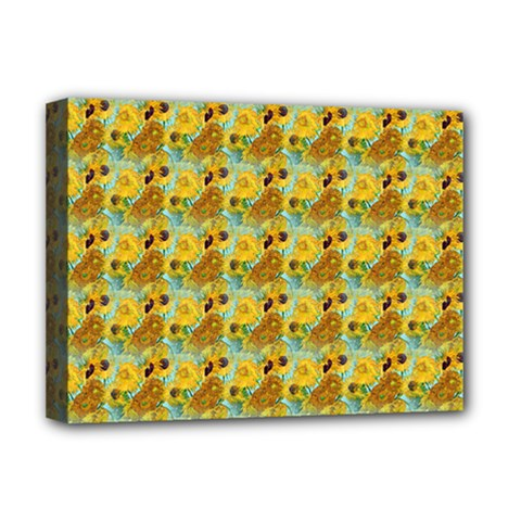 Vase With Twelve Sunflowers By Vincent Van Gogh 1889  Deluxe Canvas 16  x 12  (Framed)
