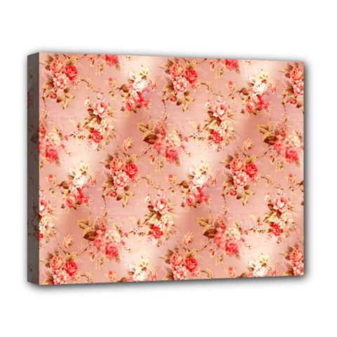 Vintage Flowers Deluxe Canvas 20  x 16  (Framed)