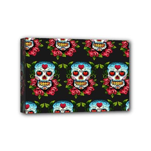 Sugar Skull Mini Canvas 6  x 4  (Framed)