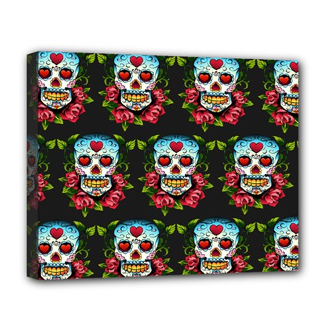 Sugar Skull Deluxe Canvas 20  x 16  (Framed)