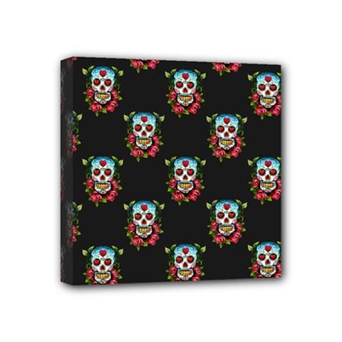 Sugar Skull Mini Canvas 4  x 4  (Framed)