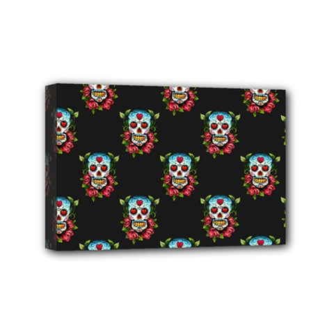 Sugar Skull Mini Canvas 6  x 4  (Framed)