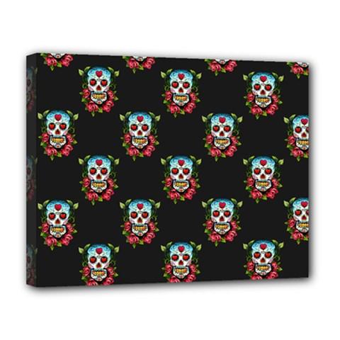 Sugar Skull Canvas 14  x 11  (Framed)