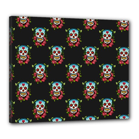 Sugar Skull Canvas 24  x 20  (Framed)