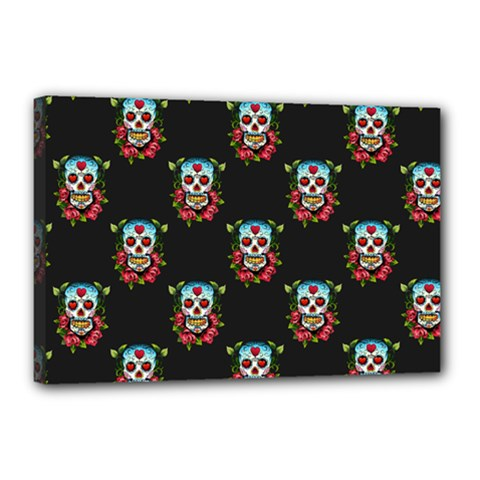 Sugar Skull Canvas 18  x 12  (Framed)