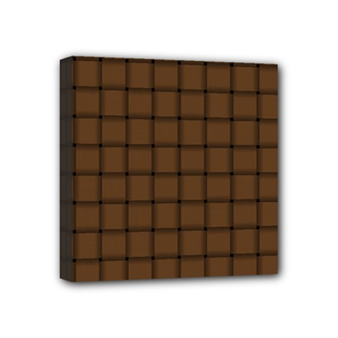Brown Nose Weave Mini Canvas 4  X 4  (framed)
