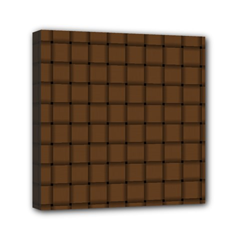 Brown Nose Weave Mini Canvas 6  x 6  (Framed)