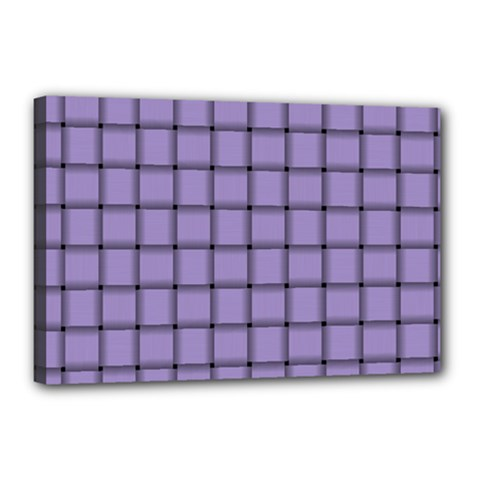 Light Pastel Purple Weave Canvas 18  x 12  (Framed)