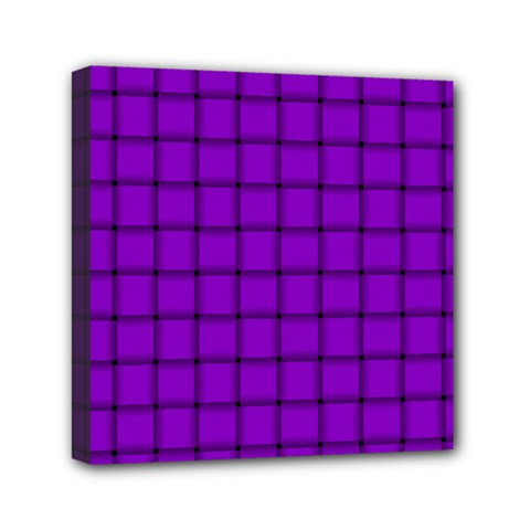 Dark Violet Weave Mini Canvas 6  x 6  (Framed)