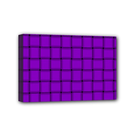 Dark Violet Weave Mini Canvas 6  X 4  (framed)