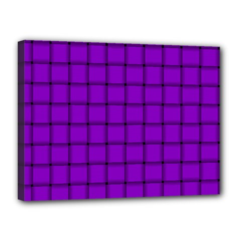 Dark Violet Weave Canvas 16  x 12  (Framed)