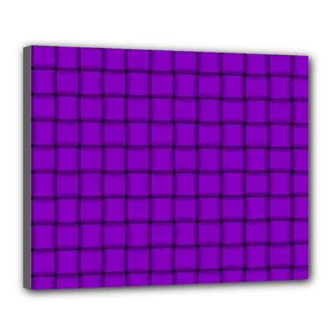 Dark Violet Weave Canvas 20  x 16  (Framed)