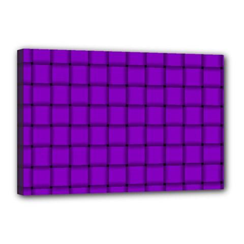 Dark Violet Weave Canvas 18  X 12  (framed)