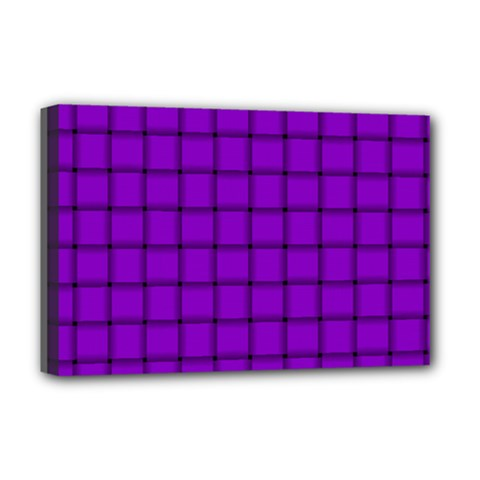 Dark Violet Weave Deluxe Canvas 18  x 12  (Framed)