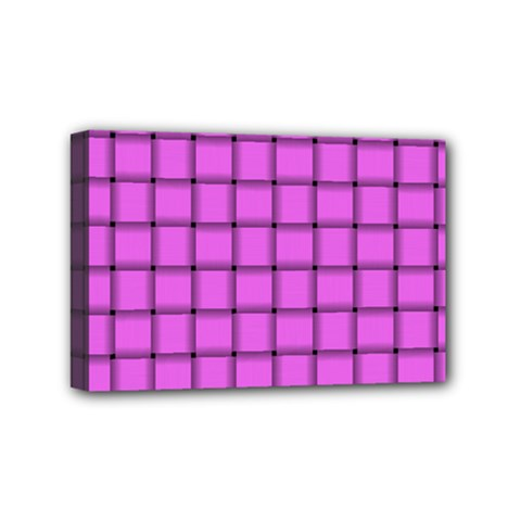 Ultra Pink Weave  Mini Canvas 6  X 4  (framed)