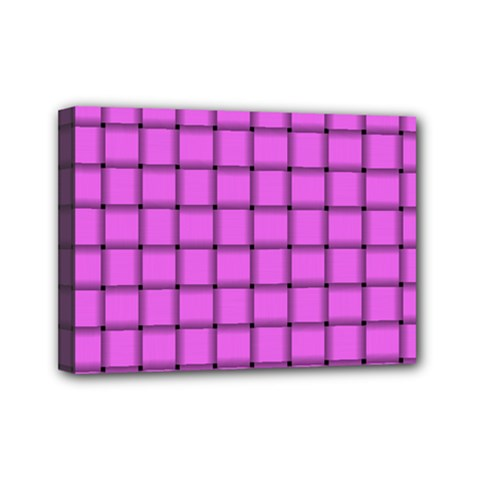 Ultra Pink Weave  Mini Canvas 7  X 5  (framed)