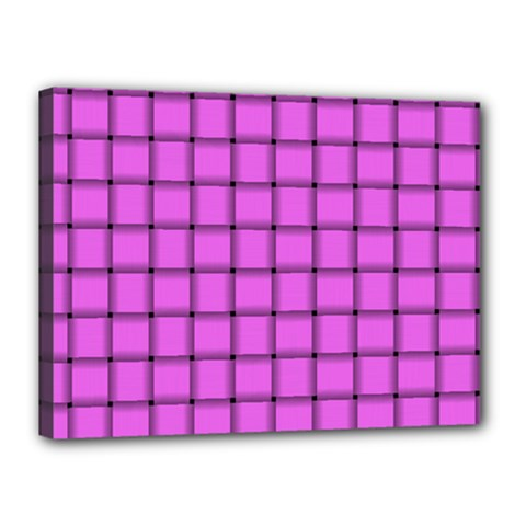 Ultra Pink Weave  Canvas 16  x 12  (Framed)