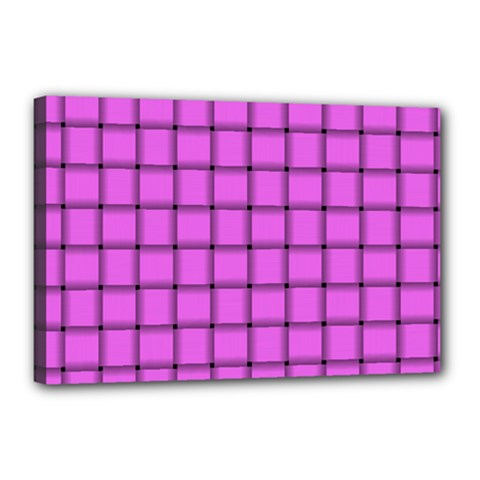 Ultra Pink Weave  Canvas 18  X 12  (framed)