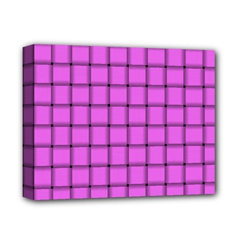 Ultra Pink Weave  Deluxe Canvas 14  X 11  (framed)