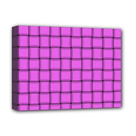 Ultra Pink Weave  Deluxe Canvas 16  x 12  (Framed)