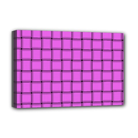 Ultra Pink Weave  Deluxe Canvas 18  x 12  (Framed)