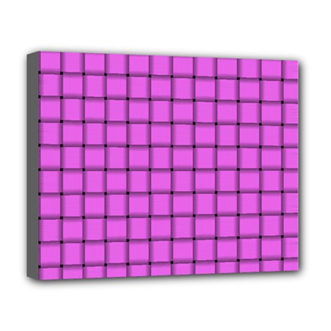 Ultra Pink Weave  Deluxe Canvas 20  X 16  (framed)