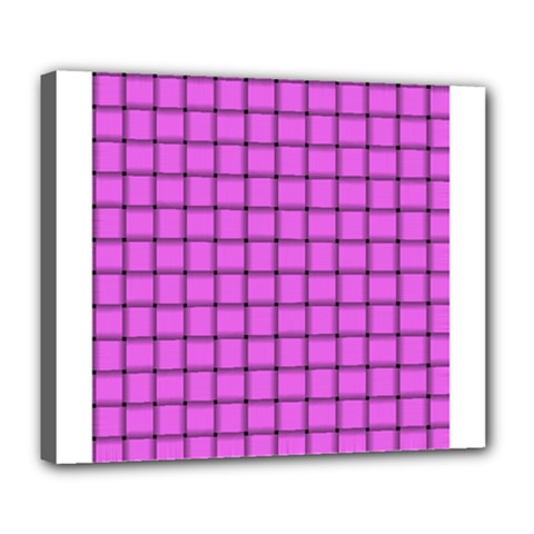 Ultra Pink Weave  Deluxe Canvas 24  x 20  (Framed)