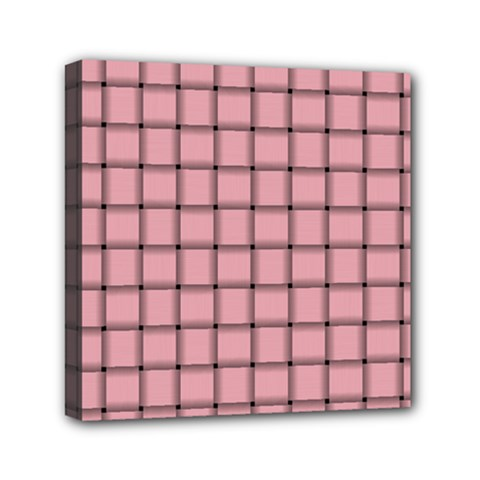 Light Pink Weave Mini Canvas 6  x 6  (Framed)