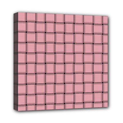 Light Pink Weave Mini Canvas 8  X 8  (framed)
