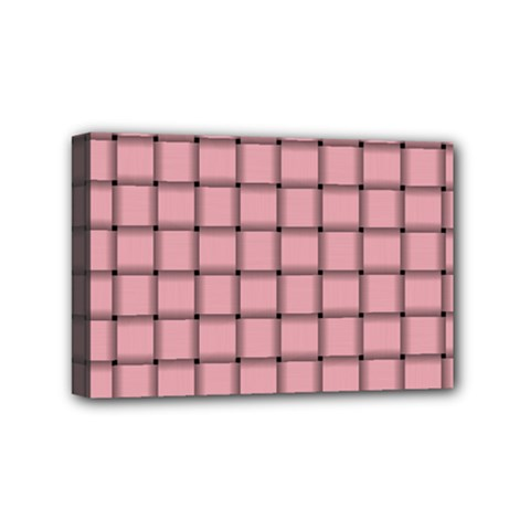 Light Pink Weave Mini Canvas 6  x 4  (Framed)