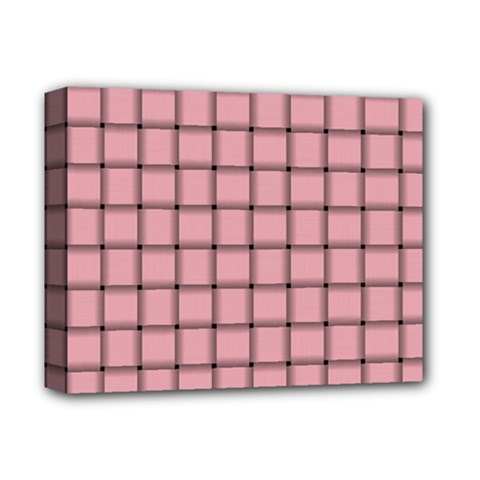 Light Pink Weave Deluxe Canvas 14  x 11  (Framed)