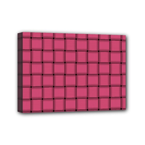Dark Pink Weave Mini Canvas 7  X 5  (framed)
