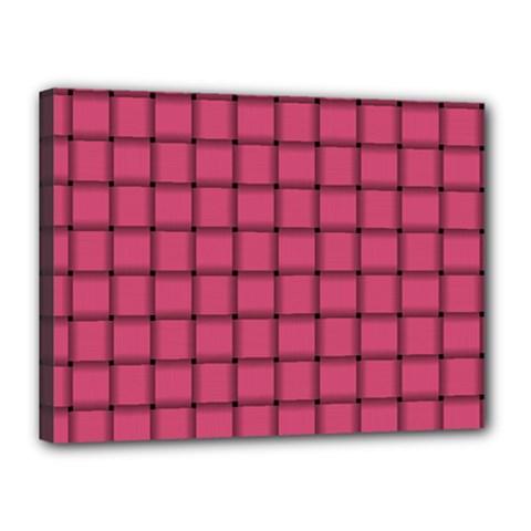 Dark Pink Weave Canvas 16  x 12  (Framed)