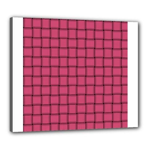 Dark Pink Weave Canvas 24  x 20  (Framed)