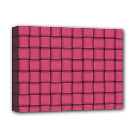 Dark Pink Weave Deluxe Canvas 16  x 12  (Framed)