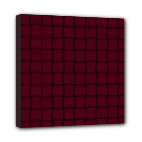 Dark Scarlet Weave Mini Canvas 8  x 8  (Framed)