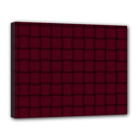 Dark Scarlet Weave Canvas 14  X 11  (framed)
