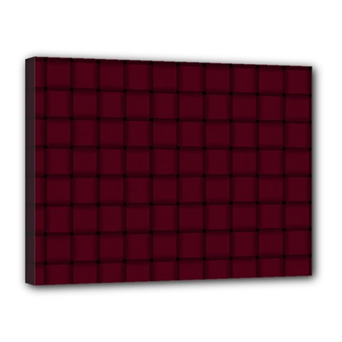 Dark Scarlet Weave Canvas 16  X 12  (framed)
