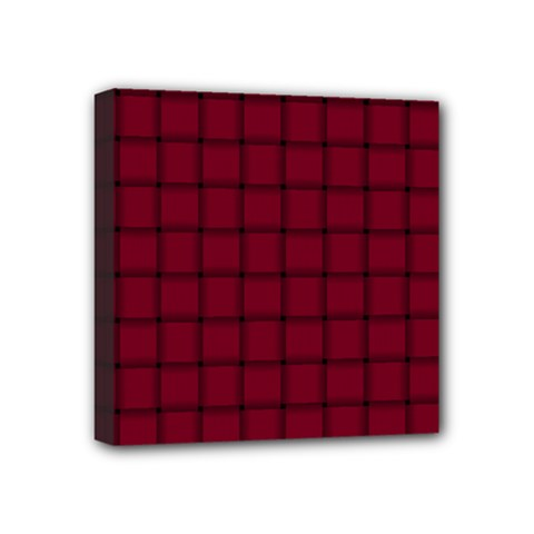 Burgundy Weave Mini Canvas 4  X 4  (framed)