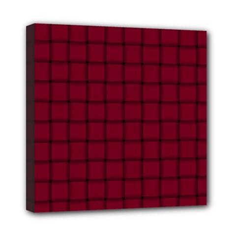 Burgundy Weave Mini Canvas 8  x 8  (Framed)