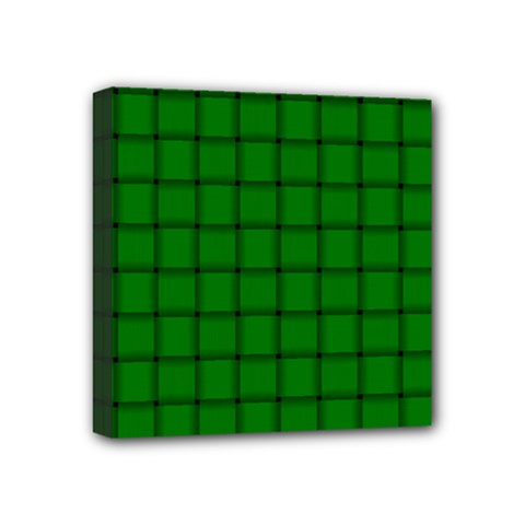 Green Weave Mini Canvas 4  X 4  (framed)