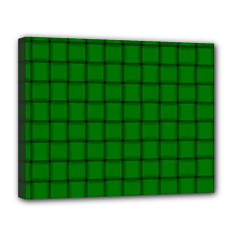 Green Weave Canvas 14  x 11  (Framed)